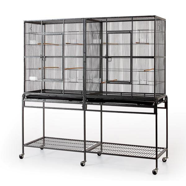 Double Flight Bird Cage W Divider For Canary Parakeet