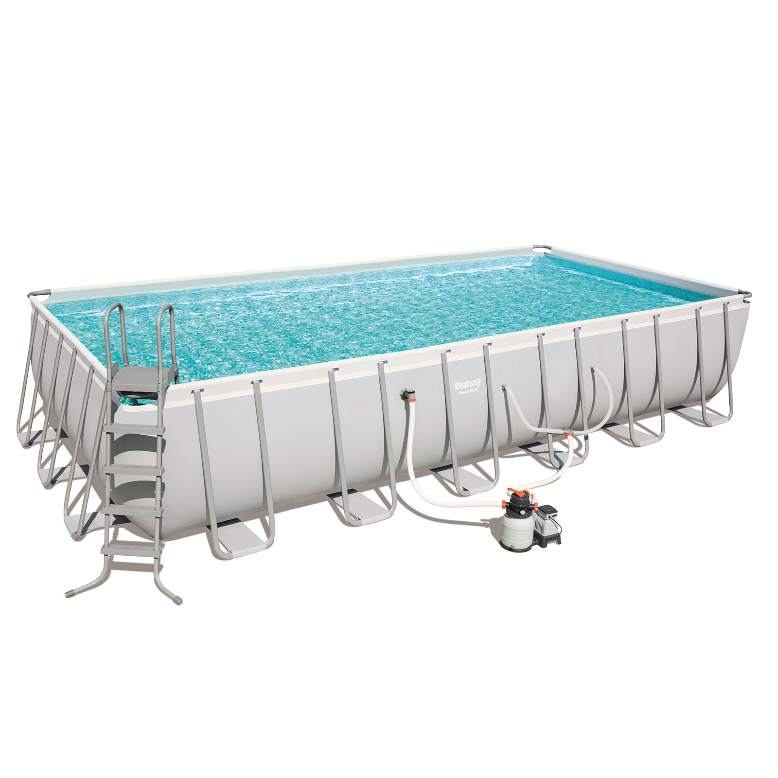24ft bestway frame above ground swimming pool with for Swimmingpool 3m