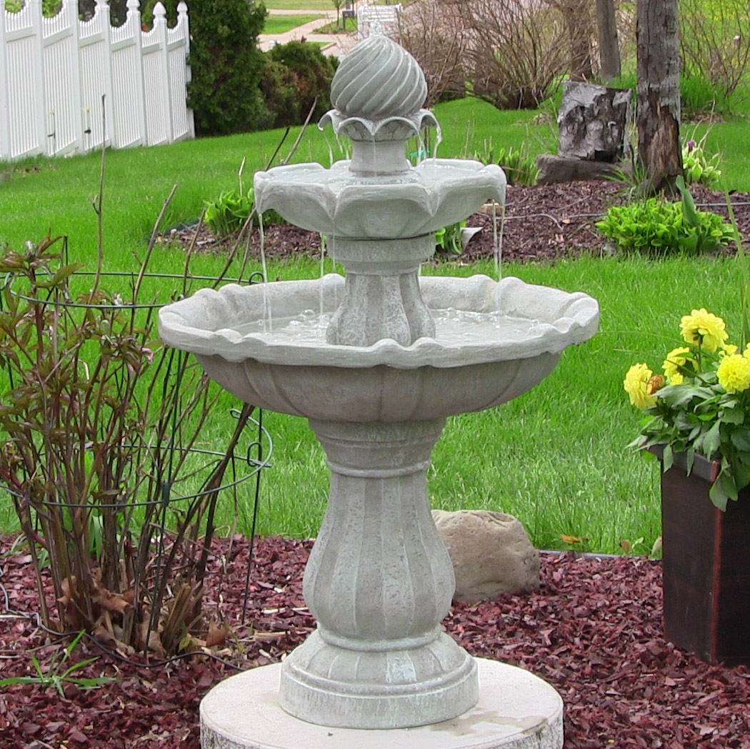 Solar Powered 2 Tier Bird Bath Water Fountain