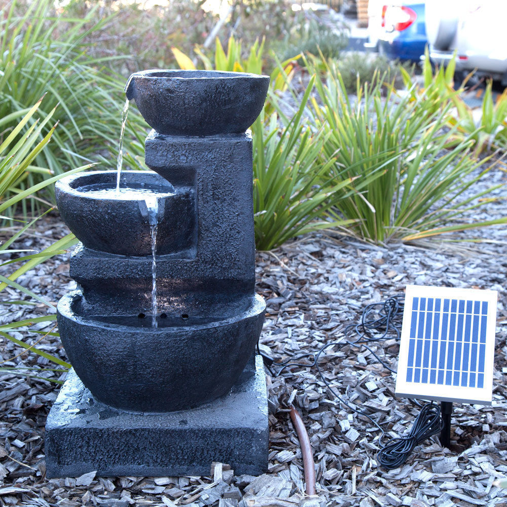 Solar Panel Powered 3 Tiers Casarding Water Fountain
