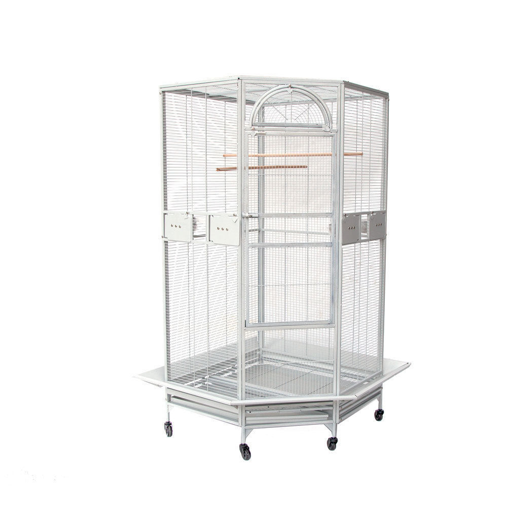 Parrot Escape Jumbo Corner Bird Cage With Seed Skirt White