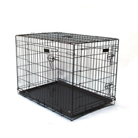 "36"" Double Doors Folding Dog Crate for Pet Rabbit Chick Cat Cage 91x60x70cm"