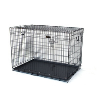 "42"" Double Doors Folding Dog Crate for Pet Rabbit Chick Cat Cage 108x70x78cm"