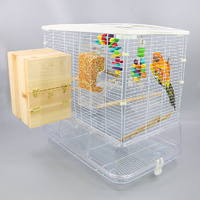 Flyline Messy Free Bird Cage with Clear Deep Base for Canary