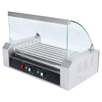 Commercial Grade 18 Hot Dog Sausage 7 Roller Grill Machine with Cover