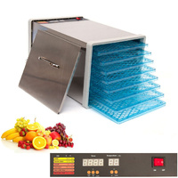 8 Tray Stainless Steel Food Fruit Dehydrator with Plastic Trays